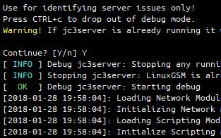 LinuxGSM debug